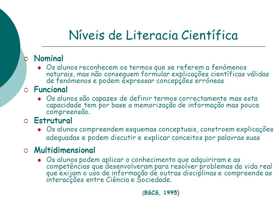 Níveis de Literacia Científica
