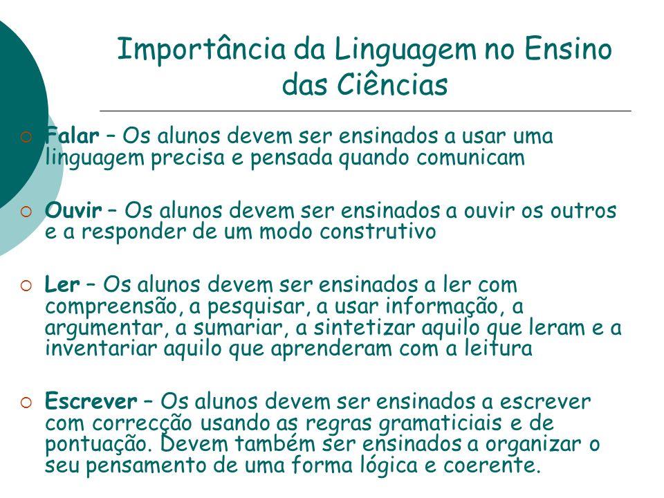 Importância da Linguagem no Ensino das Ciências