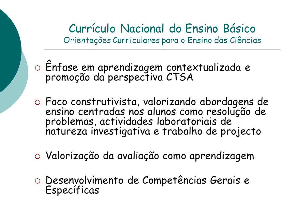 Currículo Nacional do Ensino Básico Orientações Curriculares para o Ensino das Ciências