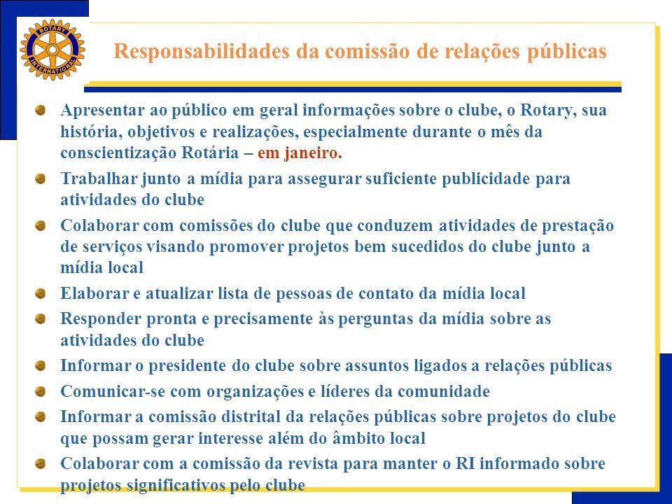 Responsabilidades da comissão de relações públicas