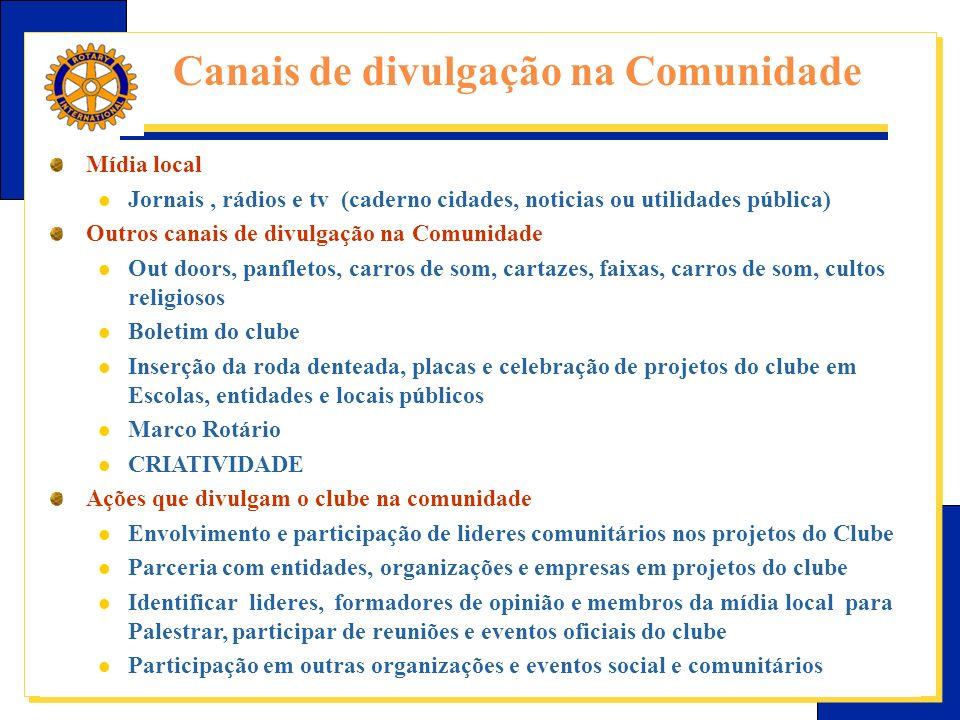 Canais de divulgação na Comunidade