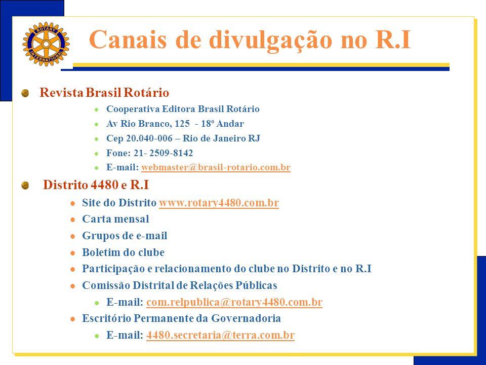 Canais de divulgação no R.I