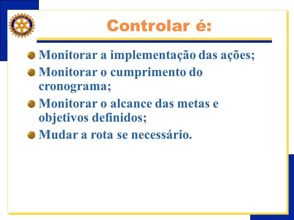 Controlar é: Monitorar a implementação das ações;