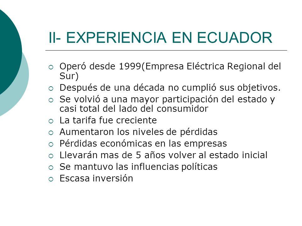 II- EXPERIENCIA EN ECUADOR