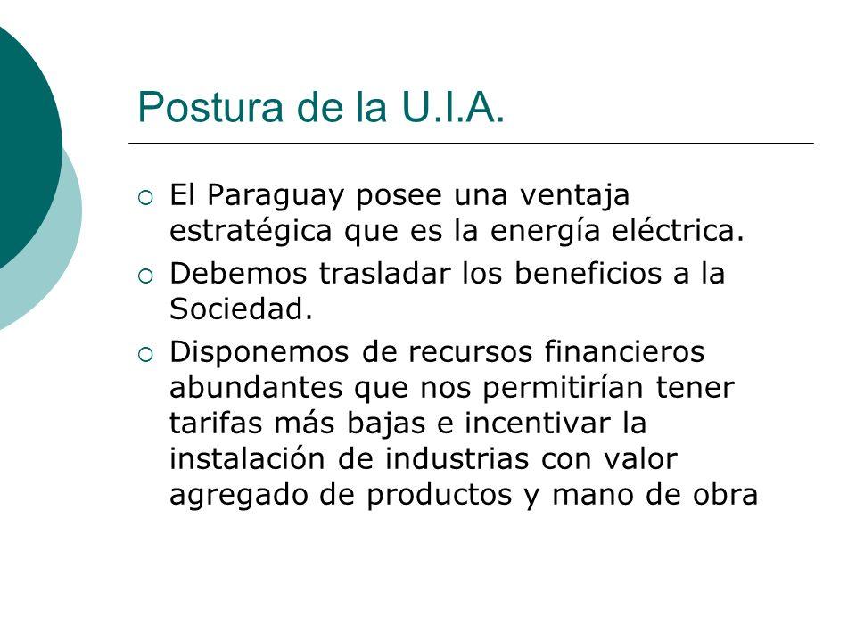 Postura de la U.I.A. El Paraguay posee una ventaja estratégica que es la energía eléctrica. Debemos trasladar los beneficios a la Sociedad.