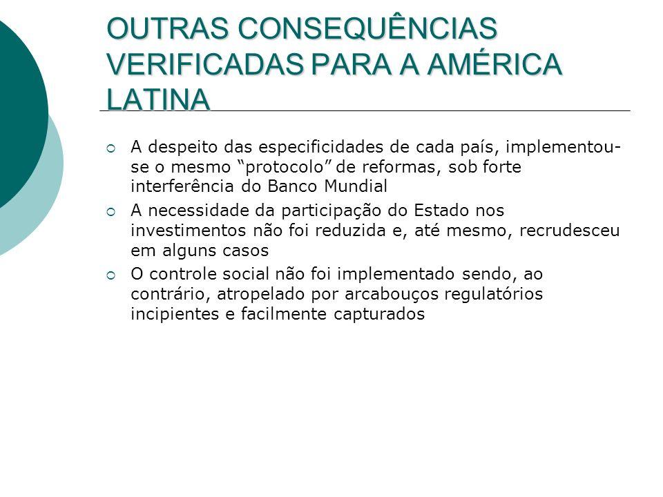 OUTRAS CONSEQUÊNCIAS VERIFICADAS PARA A AMÉRICA LATINA