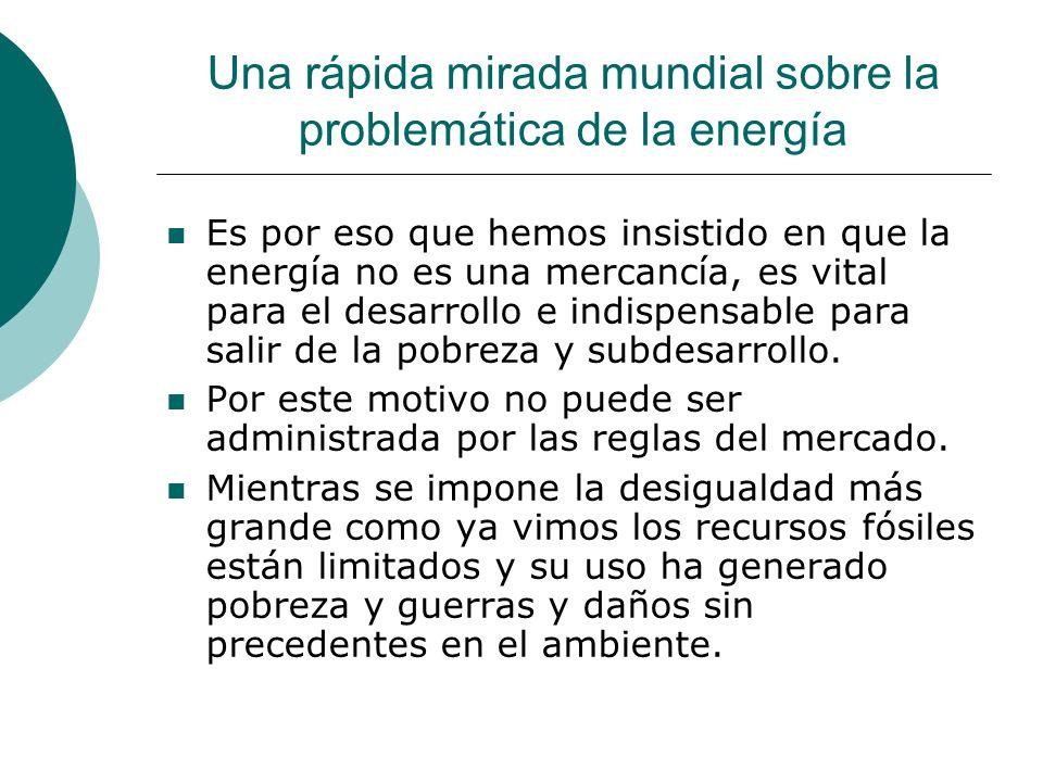 Una rápida mirada mundial sobre la problemática de la energía