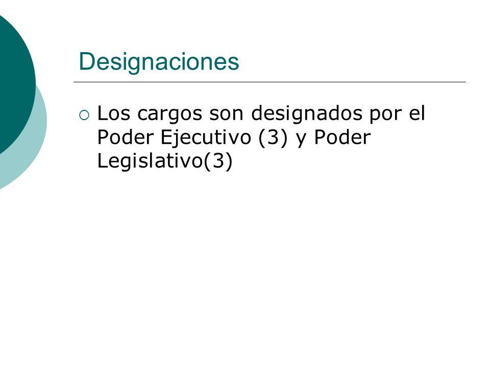 Designaciones Los cargos son designados por el Poder Ejecutivo (3) y Poder Legislativo(3)