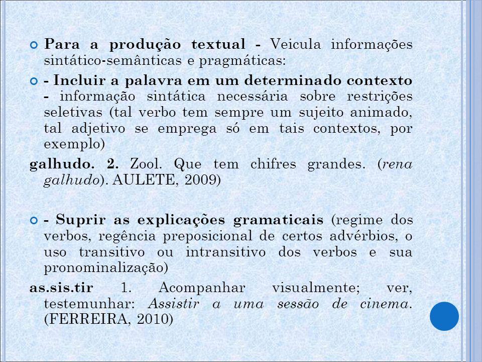 Para a produção textual - Veicula informações sintático-semânticas e pragmáticas: