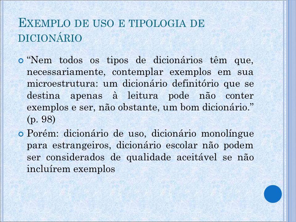 Exemplo de uso e tipologia de dicionário
