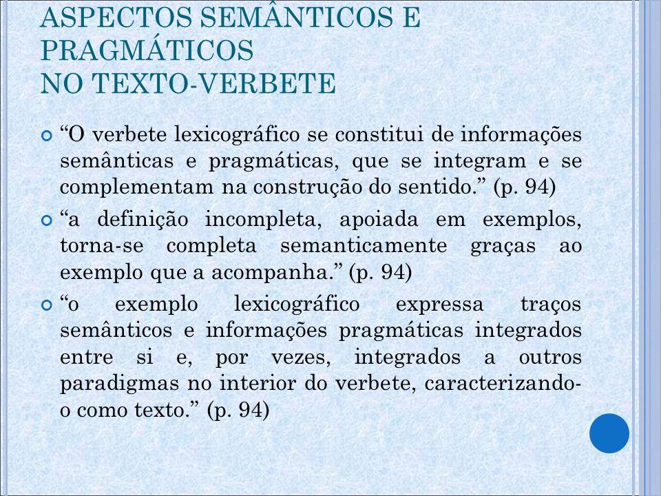 ASPECTOS SEMÂNTICOS E PRAGMÁTICOS NO TEXTO-VERBETE