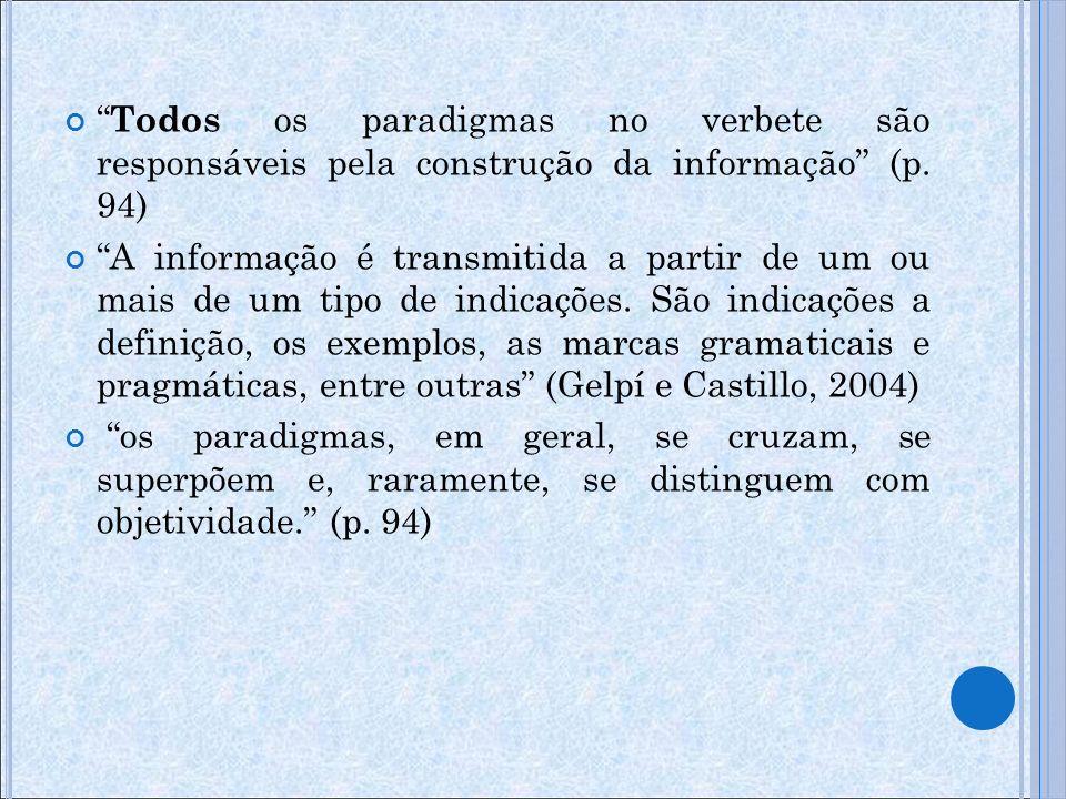 Todos os paradigmas no verbete são responsáveis pela construção da informação (p. 94)
