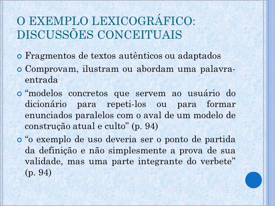O EXEMPLO LEXICOGRÁFICO: DISCUSSÕES CONCEITUAIS