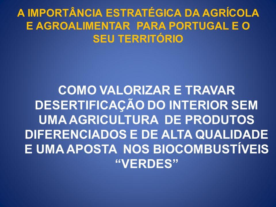 A IMPORTÂNCIA ESTRATÉGICA DA AGRÍCOLA E AGROALIMENTAR PARA PORTUGAL E O SEU TERRITÓRIO