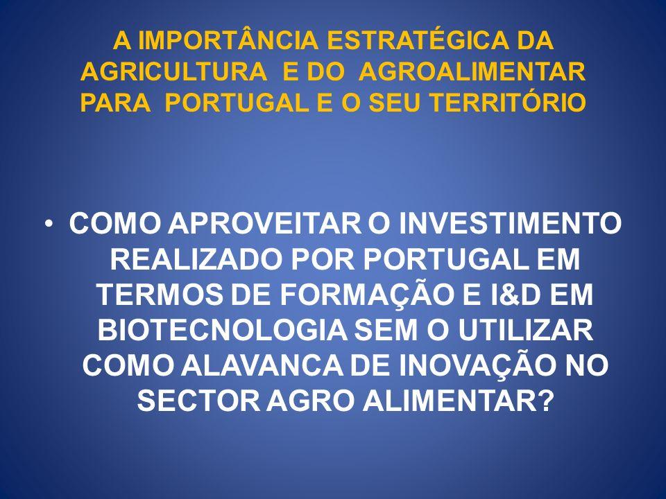 A IMPORTÂNCIA ESTRATÉGICA DA AGRICULTURA E DO AGROALIMENTAR PARA PORTUGAL E O SEU TERRITÓRIO