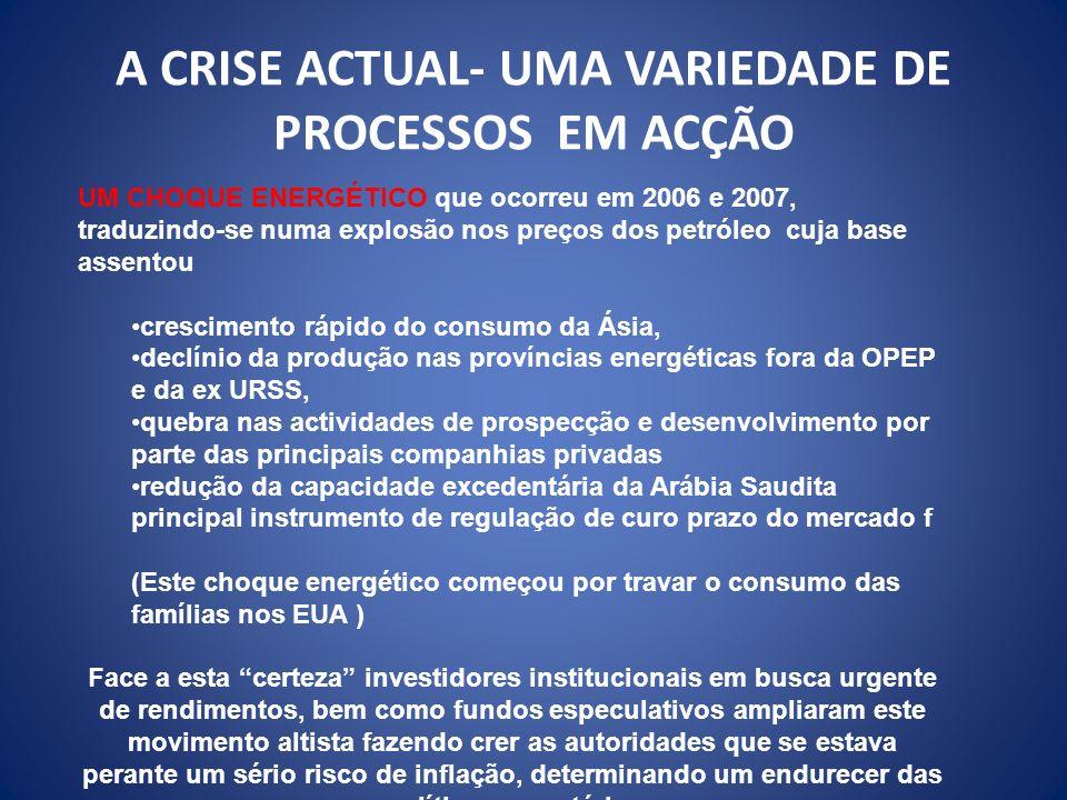 A CRISE ACTUAL- UMA VARIEDADE DE PROCESSOS EM ACÇÃO
