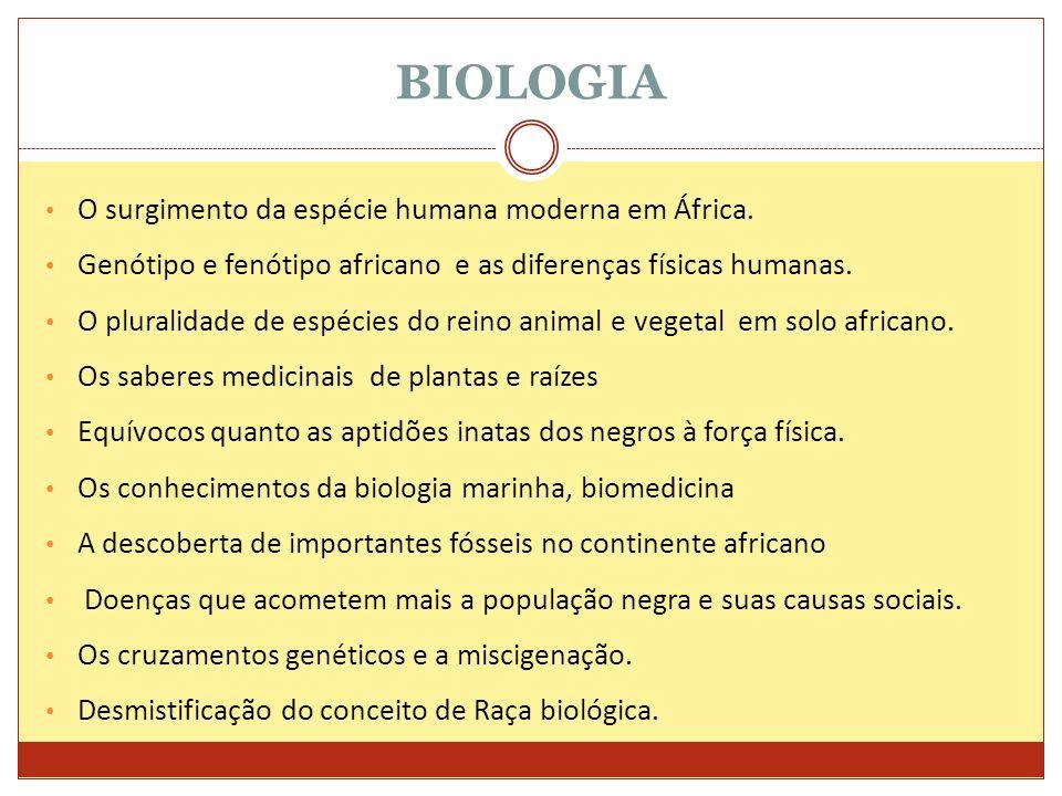 BIOLOGIA O surgimento da espécie humana moderna em África.