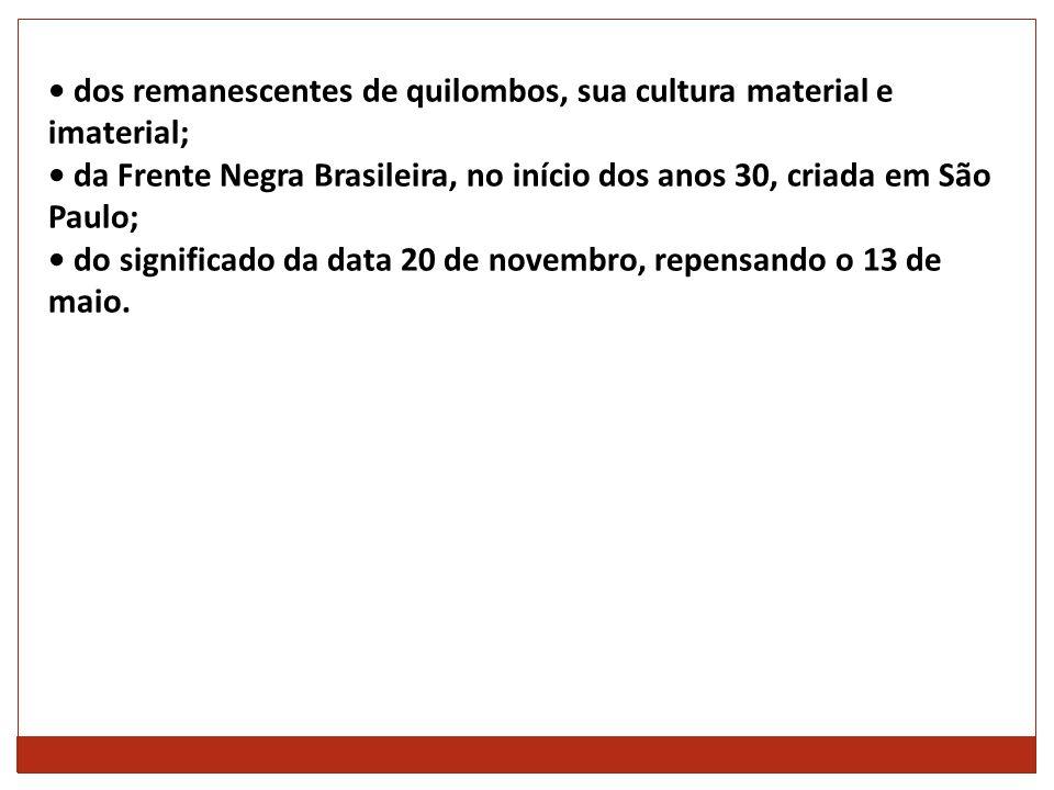 • dos remanescentes de quilombos, sua cultura material e imaterial;