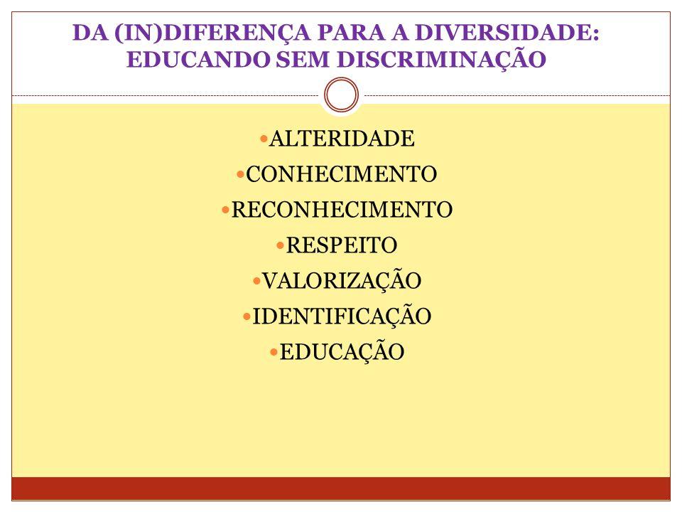 DA (IN)DIFERENÇA PARA A DIVERSIDADE: EDUCANDO SEM DISCRIMINAÇÃO