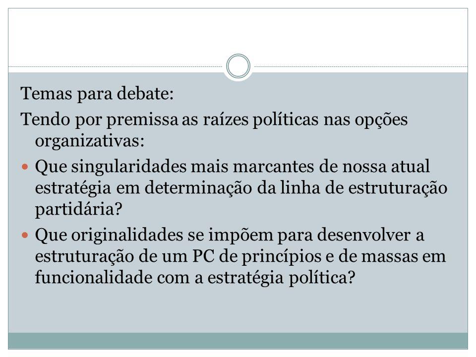 Temas para debate: Tendo por premissa as raízes políticas nas opções organizativas:
