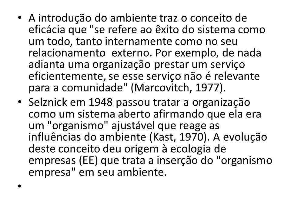 A introdução do ambiente traz o conceito de eficácia que se refere ao êxito do sistema como um todo, tanto internamente como no seu relacionamento externo. Por exemplo, de nada adianta uma organização prestar um serviço eficientemente, se esse serviço não é relevante para a comunidade (Marcovitch, 1977).