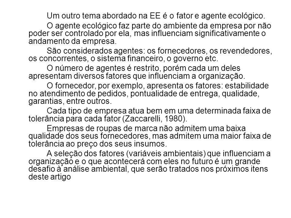 Um outro tema abordado na EE é o fator e agente ecológico
