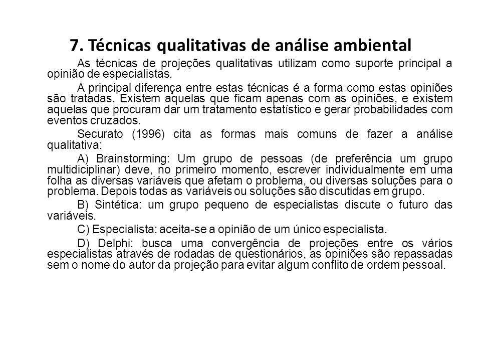 7. Técnicas qualitativas de análise ambiental