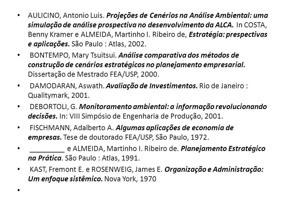 AULICINO, Antonio Luis. Projeções de Cenérios na Análise Ambiental: uma simulação de análise prospectiva no desenvolvimento da ALCA. In COSTA, Benny Kramer e ALMEIDA, Martinho I. Ribeiro de, Estratégia: prespectivas e aplicações. São Paulo : Atlas, 2002.