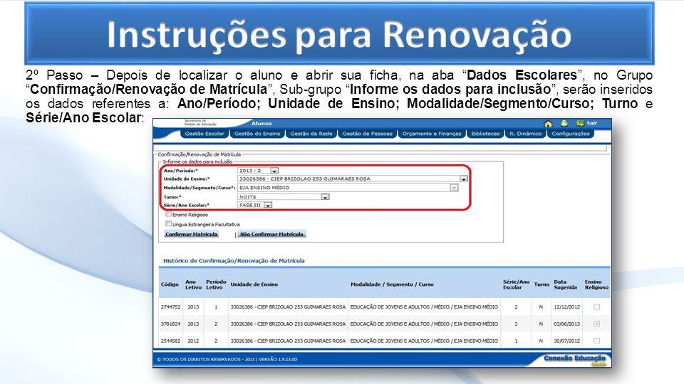 Instruções para Renovação