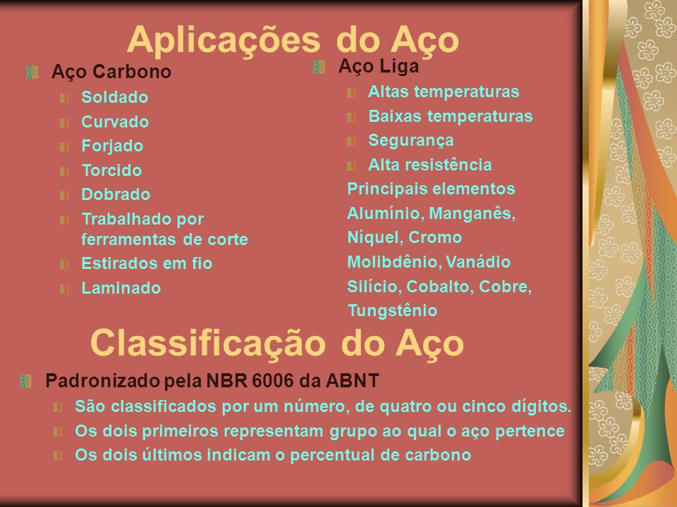 Aplicações do Aço Classificação do Aço