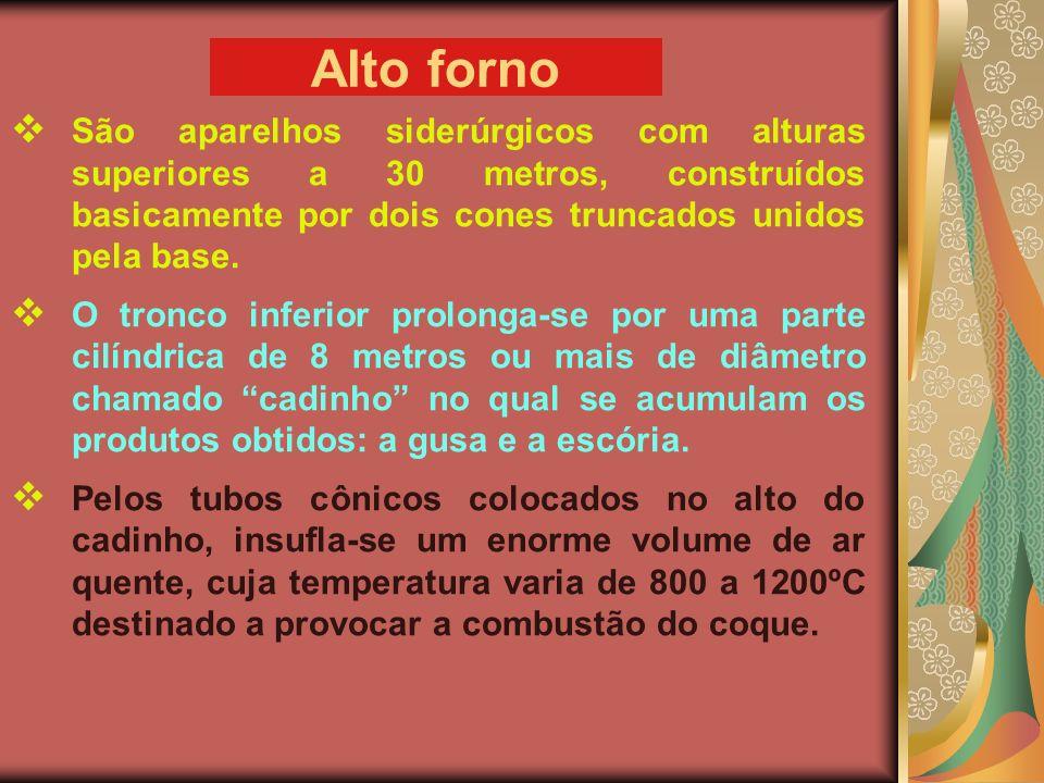 Alto forno São aparelhos siderúrgicos com alturas superiores a 30 metros, construídos basicamente por dois cones truncados unidos pela base.