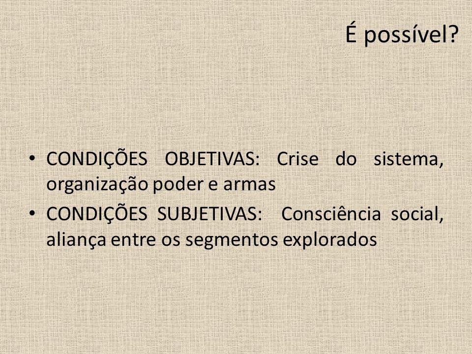 É possível CONDIÇÕES OBJETIVAS: Crise do sistema, organização poder e armas.