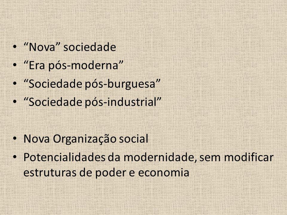 Nova sociedade Era pós-moderna Sociedade pós-burguesa Sociedade pós-industrial Nova Organização social.