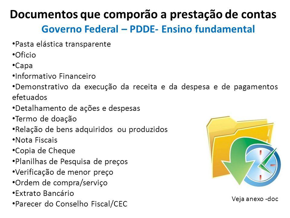 Documentos que comporão a prestação de contas