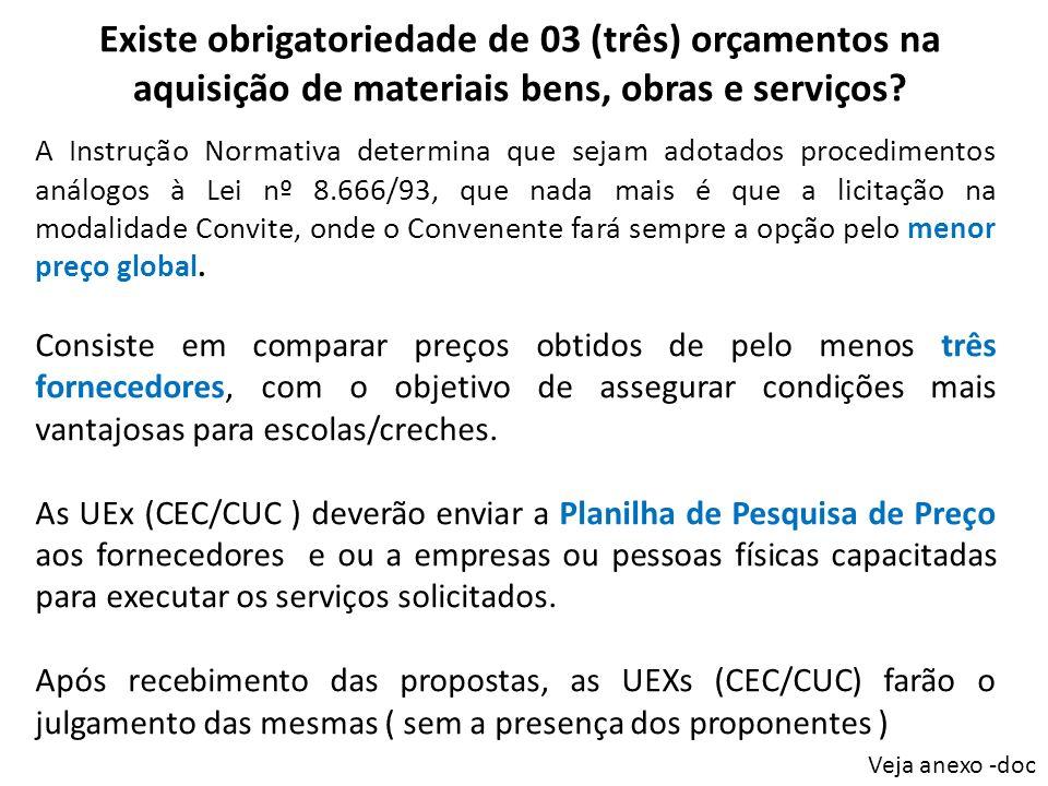 Existe obrigatoriedade de 03 (três) orçamentos na aquisição de materiais bens, obras e serviços