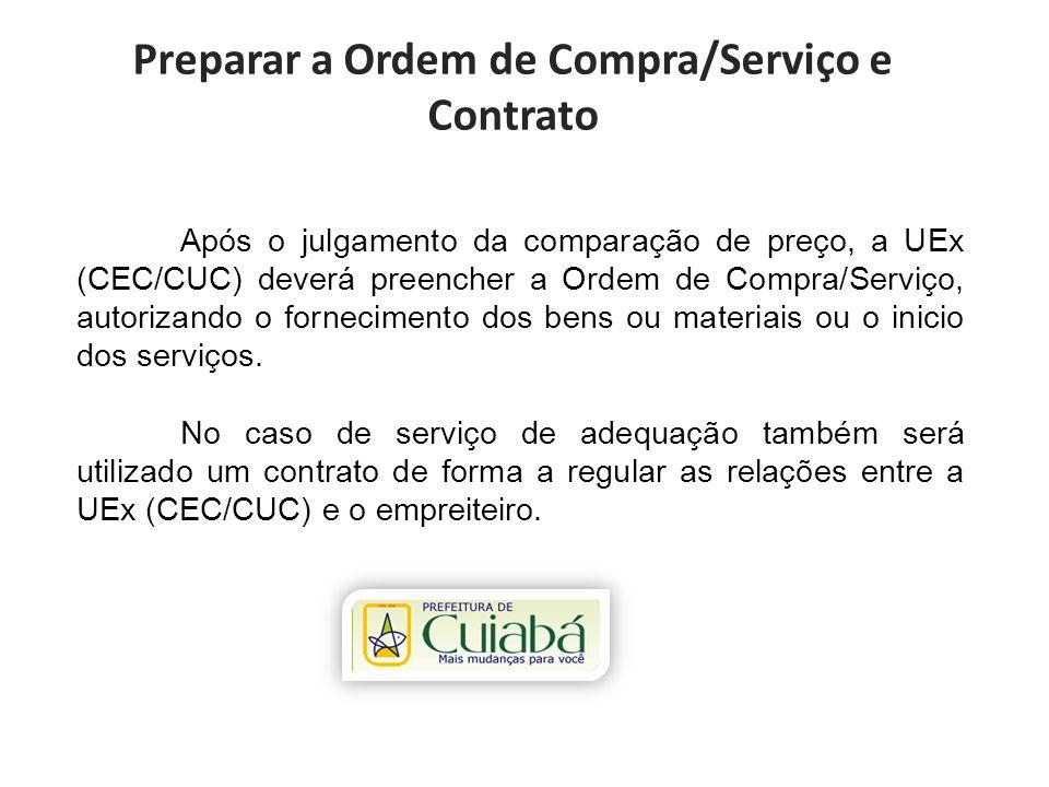 Preparar a Ordem de Compra/Serviço e Contrato