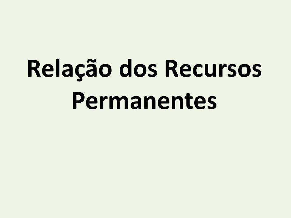 Relação dos Recursos Permanentes