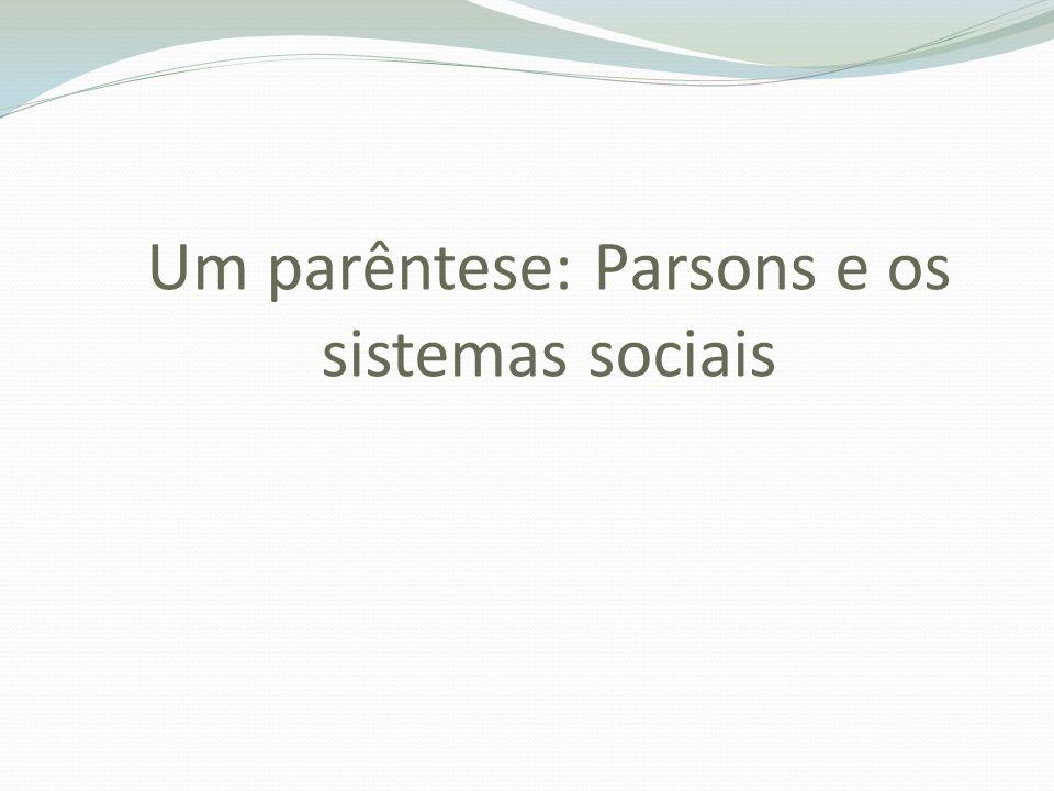 Um parêntese: Parsons e os sistemas sociais