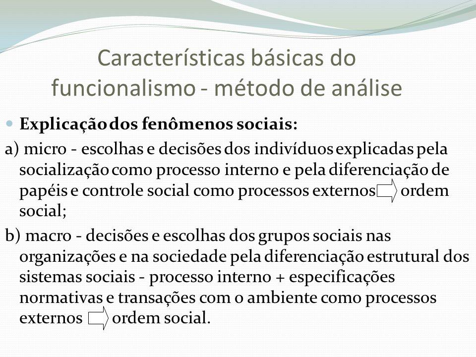 Características básicas do funcionalismo - método de análise