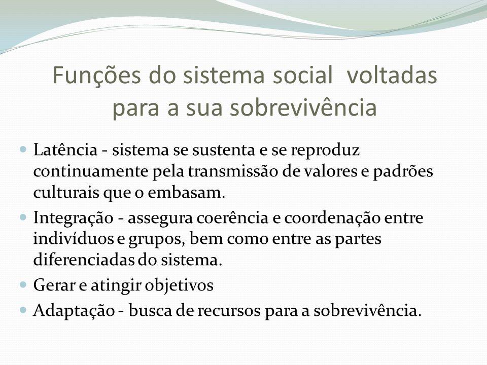 Funções do sistema social voltadas para a sua sobrevivência