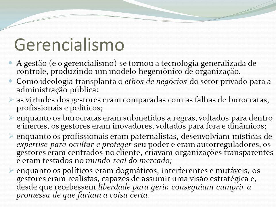 Gerencialismo A gestão (e o gerencialismo) se tornou a tecnologia generalizada de controle, produzindo um modelo hegemônico de organização.