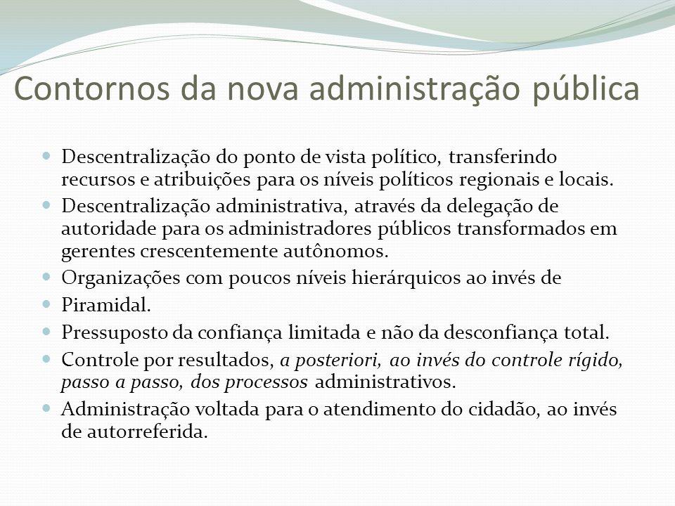 Contornos da nova administração pública