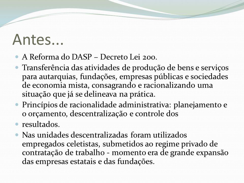 Antes... A Reforma do DASP – Decreto Lei 200.