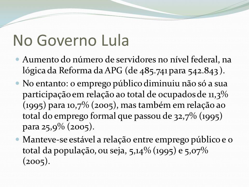 No Governo Lula Aumento do número de servidores no nível federal, na lógica da Reforma da APG (de 485.741 para 542.843 ).