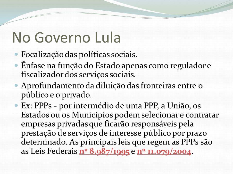 No Governo Lula Focalização das políticas sociais.
