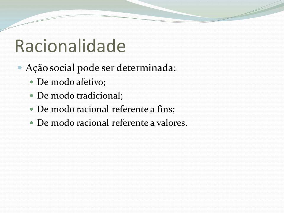 Racionalidade Ação social pode ser determinada: De modo afetivo;