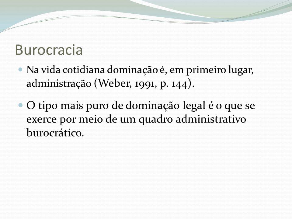 Burocracia Na vida cotidiana dominação é, em primeiro lugar, administração (Weber, 1991, p. 144).