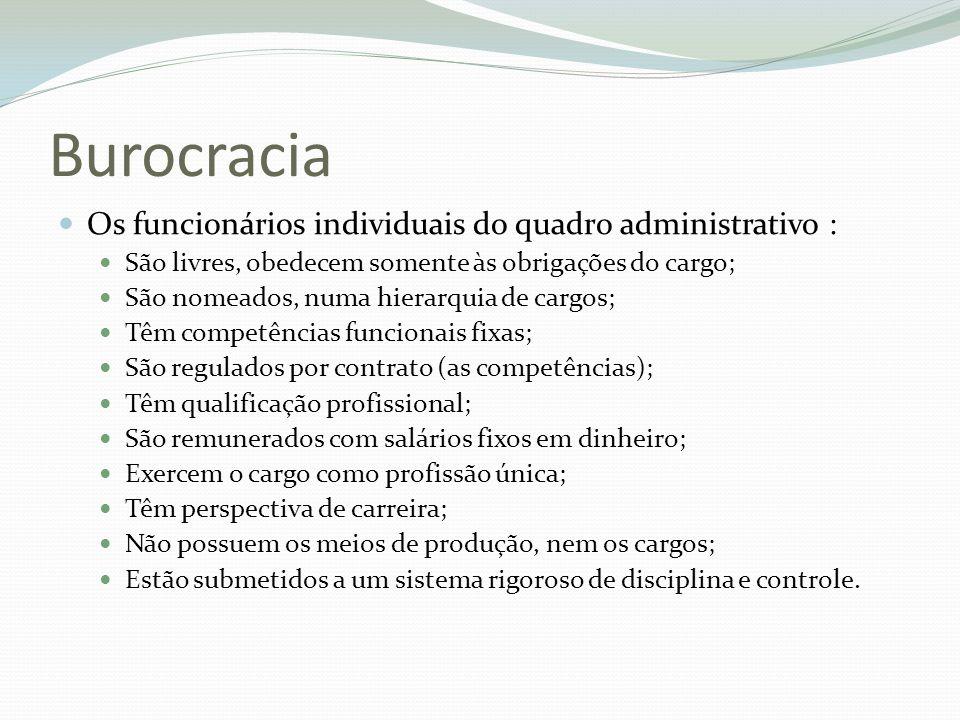 Burocracia Os funcionários individuais do quadro administrativo :