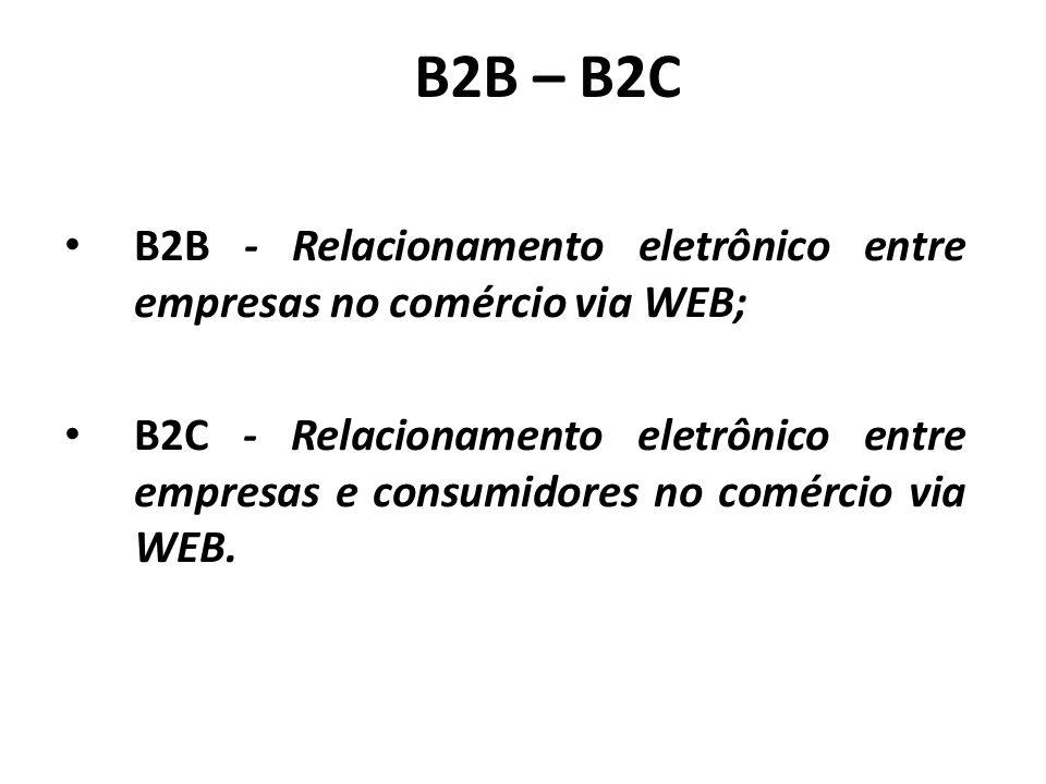 B2B – B2C B2B - Relacionamento eletrônico entre empresas no comércio via WEB;