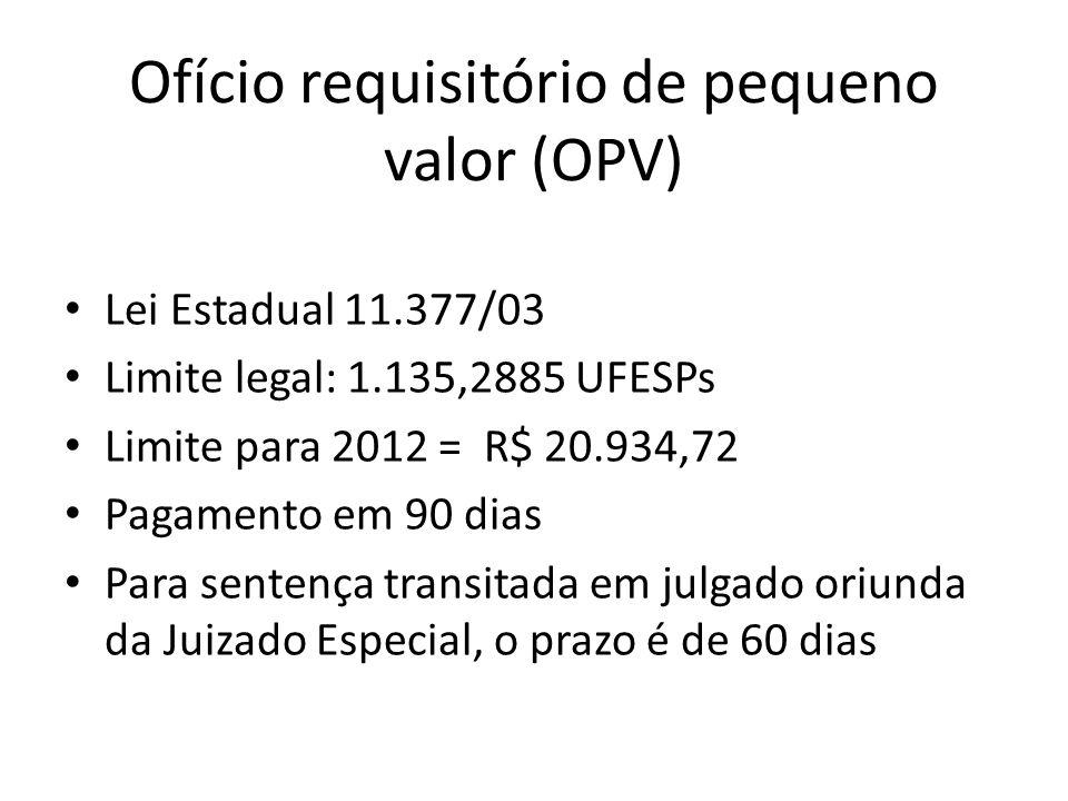 Ofício requisitório de pequeno valor (OPV)